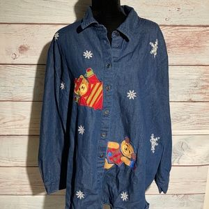 30/32 Fashion Bug denim button dwn snowflake shirt